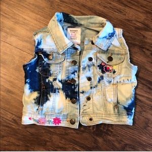 Baby Girl floral denim vest